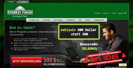 600 Dollar Poker Bonus auf Everest